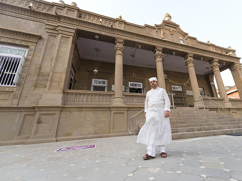 Navsari, India - March 21, 2015: A Parsi priest outside a fire temple in Navsari, India, on Saturday, March 21, 2015. (Photo by Gurinder Osan/ Hindustan Times)
