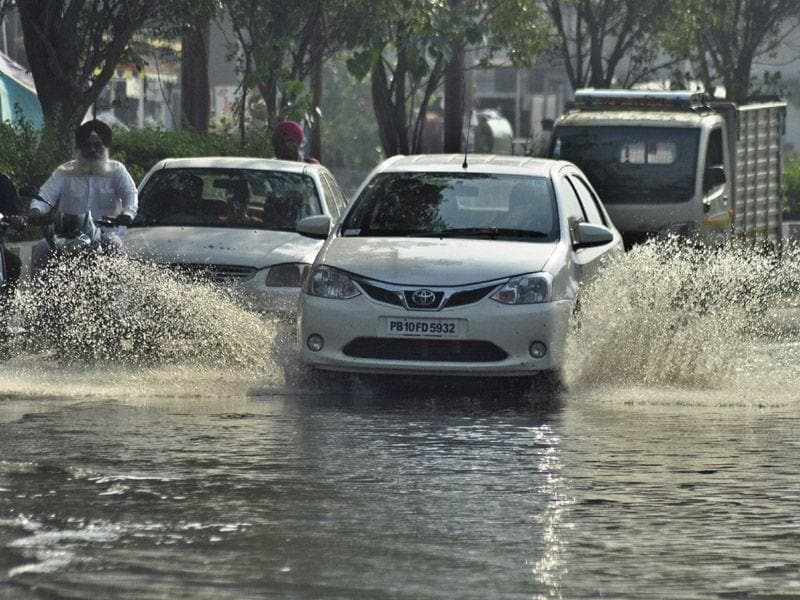 Water logged road after rainfall in Ludhiana on Thursday. HT Photo