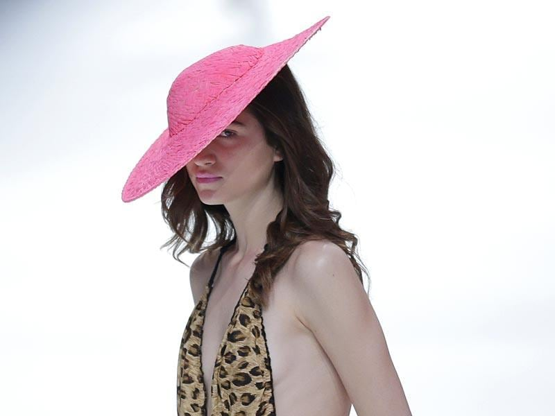 Hats of various shapes, sizes and style were also displayed at the show. (AP Photo/Manu Fernandez)