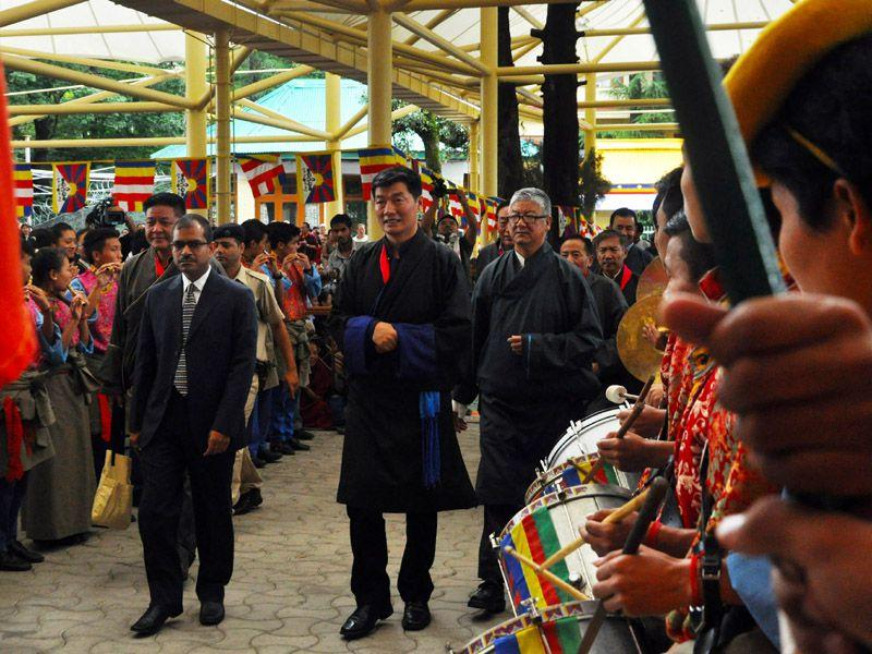 Tibetan PM in-exile Lobsang Sangay attending the 80th birthday celebrations of Dalai Lama at Tsuglagkhang temple in Dharamsala on Monday. Shyam Sharma/HT