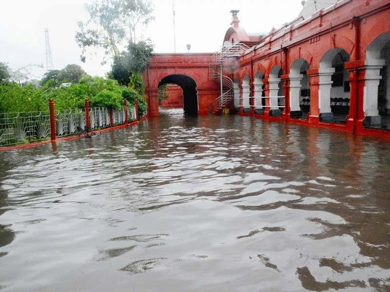 Waterlogging at an office building after heavy downpour in Gaya. IMD has predicted a below-normal monsoon this year. (PTI Photo)