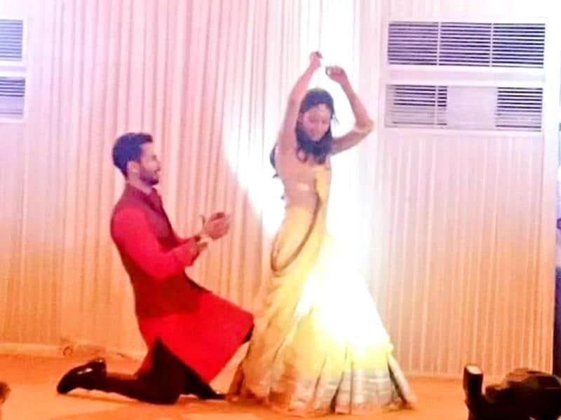 Shahid Kapoor serenades Mira Rajput at their sangeet ceremony in Gurgaon on Monday. The couple got married on Tuesday morning at a private ceremony attended only by close family and friends. (Courtesy: Twitter)