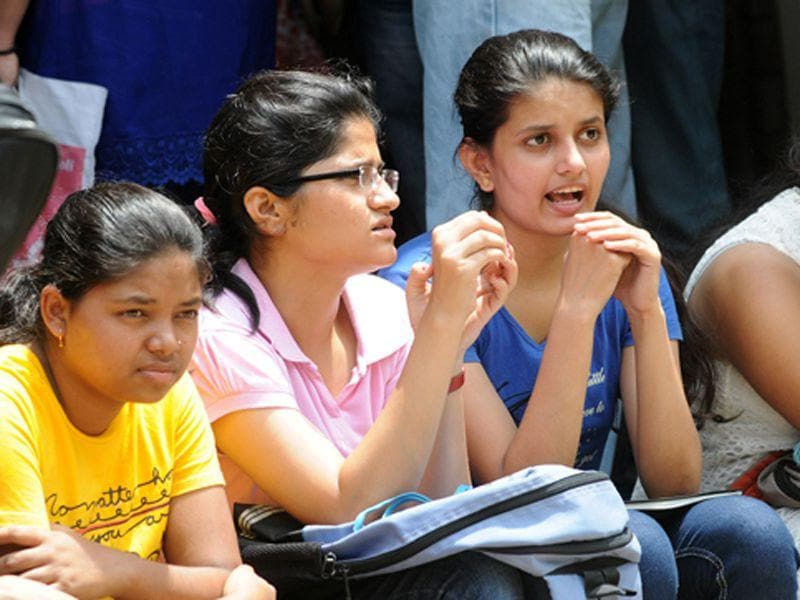 Students wait for counseling at GCG-42 in Chandigarh on Tuesday. Gurminder Singh /HT