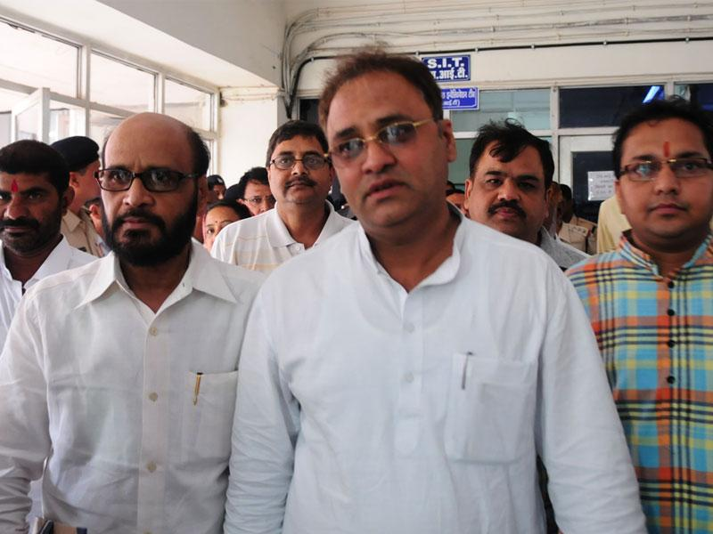 MP Congress president Arun Yadav coming out of SIT office, in Bhopal on Tuesday. (Mujeeb Faruqui/HT photo)