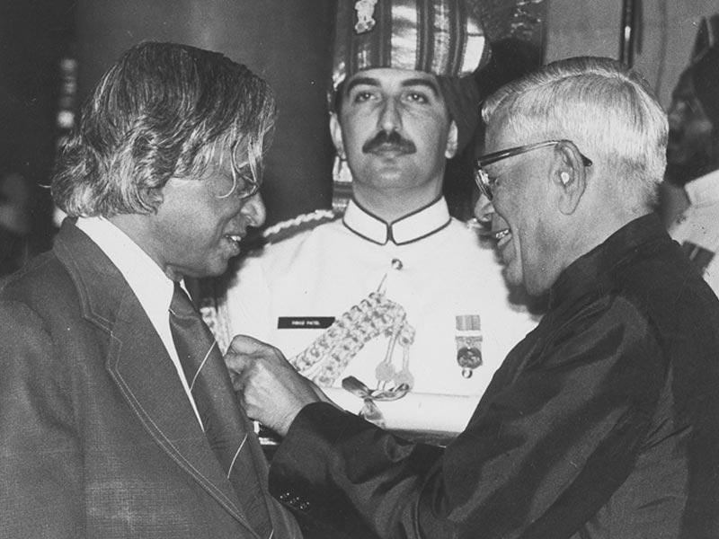 Kalam receiving the Padma Vibhushan Award on March 24, 1990. (PTI file photo)