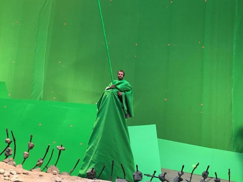 A boom mike operator clad in greenscreen because that's how big this movie is. (Instagram)