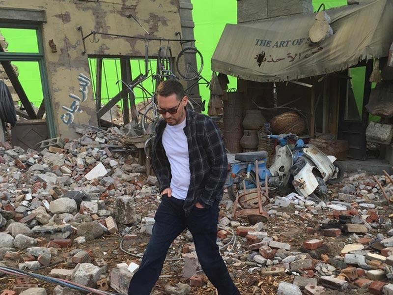 Bryan Singer surveys the damage he has done on the sets of X-Men Apocalypse. (Instagram)
