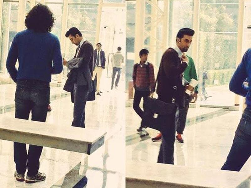 Ranbir Kapoor and Imtiaz Ali shoot for Tamasha in Cyber Hub, Gurgaon.