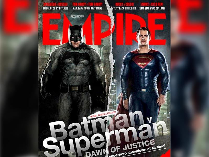 Batman and Superman pose on the new cover of Empire magazine. (Empire)