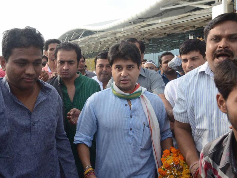 MP Jyotiraditya Scindia in Bhopal on Saturday. (HT photo)