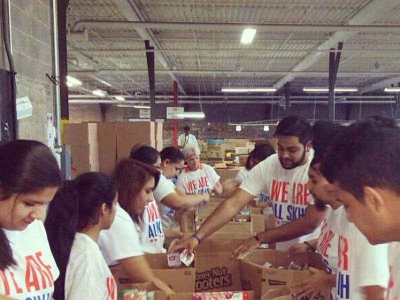 The volunteers packed nearly 700 bags of food for children in Cincinnati, Ohio, United States. Photo: Sikh Coalition
