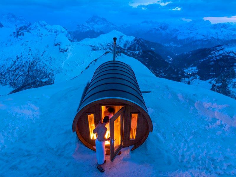 Sauna in the Sky | A sauna at 2,800 meters high in the heart of Dolomites. Monte Lagazuoi, Cortina, eastern Italian Alps.  (Photo and caption by Stefano Zardini /National Geographic Traveler Photo Contest. Here are the details about the contest http://travel.nationalgeographic.com/photo-contest-2015/)