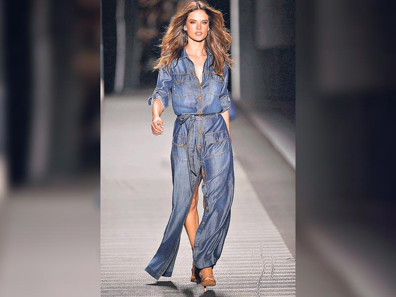 Try the breezy denim beachwear like model Alessandra Ambrosio who presents a creation by designer Jorge Duque.