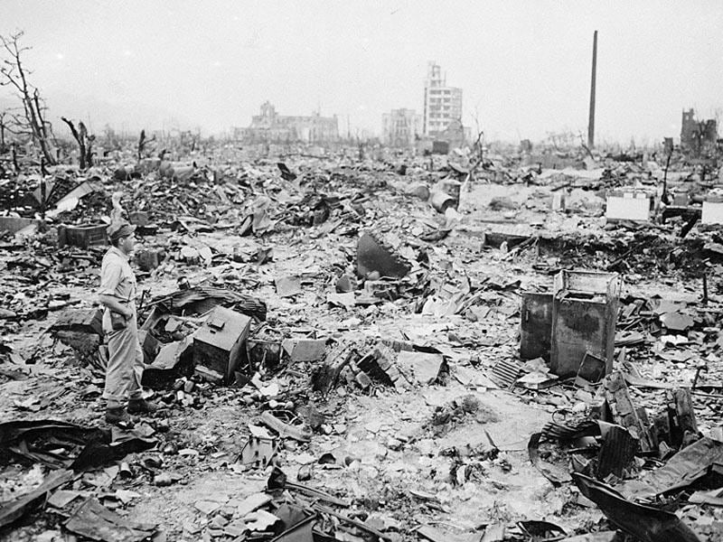 In this Sept 8, 1945 file photo, only a handful of buildings remain standing amid the wasteland of Hiroshima, the Japanese city reduced to rubble following the first atomic bomb to be dropped in warfare. (AP Photo/File)