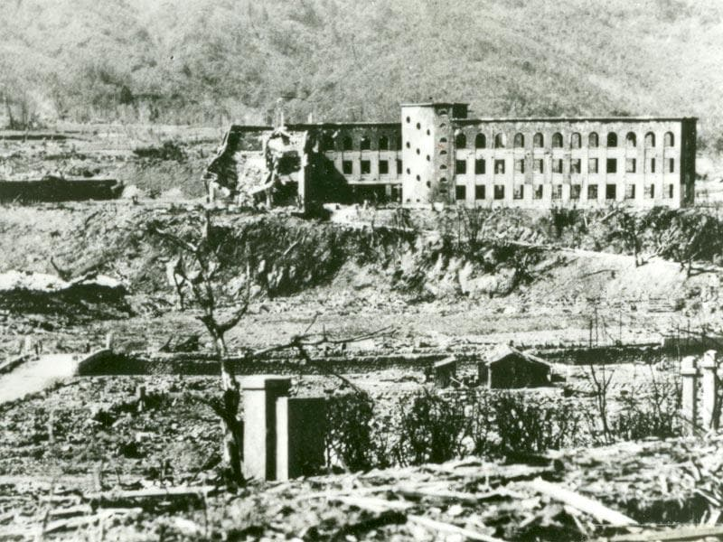 The Shiroyama National School (above C), which was damaged in the atomic bombing of Nagasaki on August 9, 1945, is seen in Nagasaki, southwestern Japan, in this undated handout photo taken by Shigeo Hayashi and distributed by the Nagasaki Atomic Bomb Museum. REUTERS/Shigeo Hayashi/Nagasaki Atomic Bomb Museum/Handout