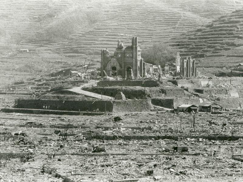 The Urakami Cathedral (C), which was destroyed by the atomic bombing of Nagasaki on August 9, 1945, is seen in Nagasaki, southwestern Japan, in this undated handout photo taken by Shigeo Hayashi and distributed by the Nagasaki Atomic Bomb Museum. (REUTERS/Shigeo Hayashi/Nagasaki Atomic Bomb Museum/Handout)