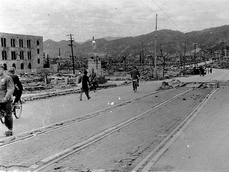 Local residents walk past destroyed buildings west-southwest of Aioi Bridge in Hiroshima, after the atomic bombing of the city on August 6, 1945, in this handout photo taken by Shigeo Hayashi in October 1945 and released by the Hiroshima Peace Memorial Museum. (REUTERS/Shigeo Hayashi/Hiroshima Peace Memorial Museum/Handout)