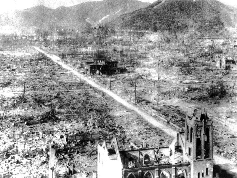 In this Sept 5, 1945, file photo, the skeleton of a Catholic Church, foreground, and an unidentified building, center, are all that remaining the blast center area after the atomic bomb of Hiroshima, Japan.(AP Photo, File)