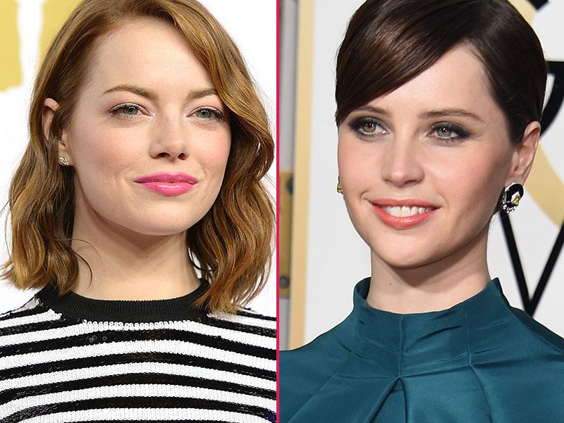 Ever since the flapper girls of the 1920s realised the power of a stained pout, lipstick has been a beauty staple for millions of women. Here's a look at celebs whose lipstick game has been on point this year. Emma Stone (L) usually goes for a bold, heavily accentuated eye on the red carpet, so when she turned up at the Oscars Nominees' Luncheon earlier this year wearing this fresh, acidic candy colored pink lippy we were delighted. A matte foundation with just a hint of apricot blush made sure her pout was the main talking point. Coral has been a huge trend this year, as demonstrated perfectly by the flawless Felicity Jones (R) at this year's Golden Globes in January. The British star used a sweep of navy eyeshadow and slightly disheveled brow to accentuate her hazel peepers and put the focus on the strong but natural-looking lip color. (Photos: AFP)