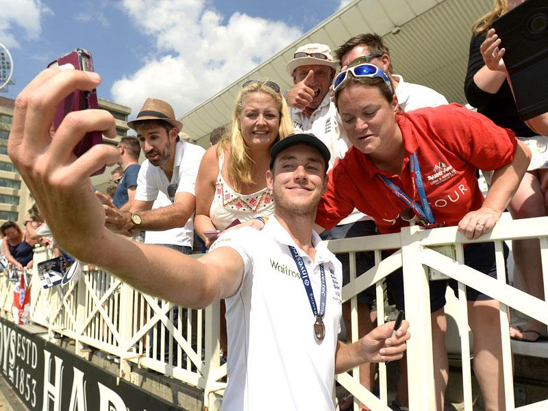 England's Stuart Broad celebrates with fans after winning the Ashes. (Reuters)