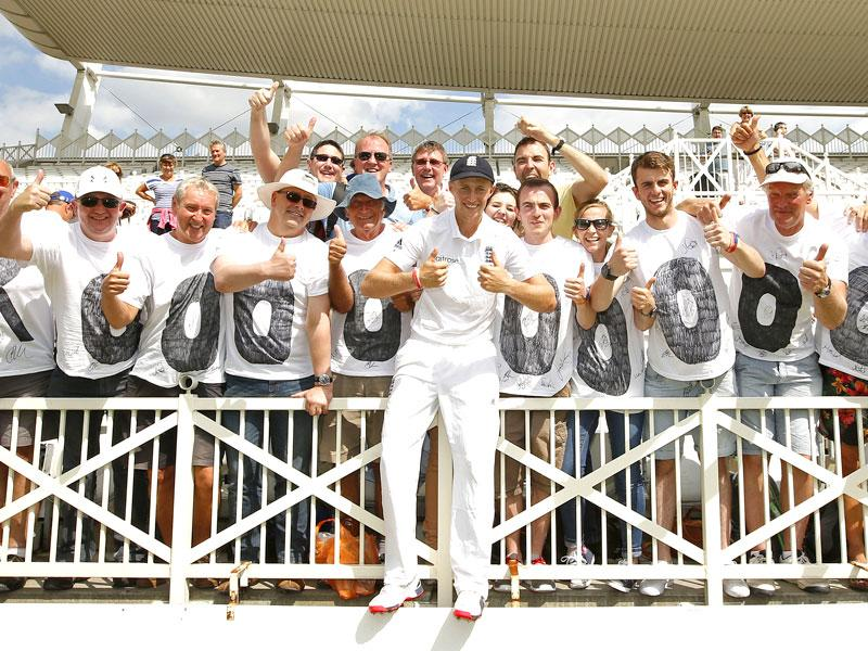 Joe Root poses for a photograph with England fans after winning the Ashes action. (Reuters)