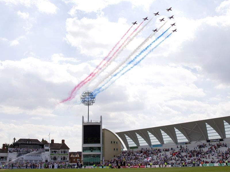 Red Arrows fly past after England wrap up the game and retain the Ashes on the third day of the fourth Ashes cricket Test match between England and Australia at Trent Bridge in Nottingham. (AFP Photo)