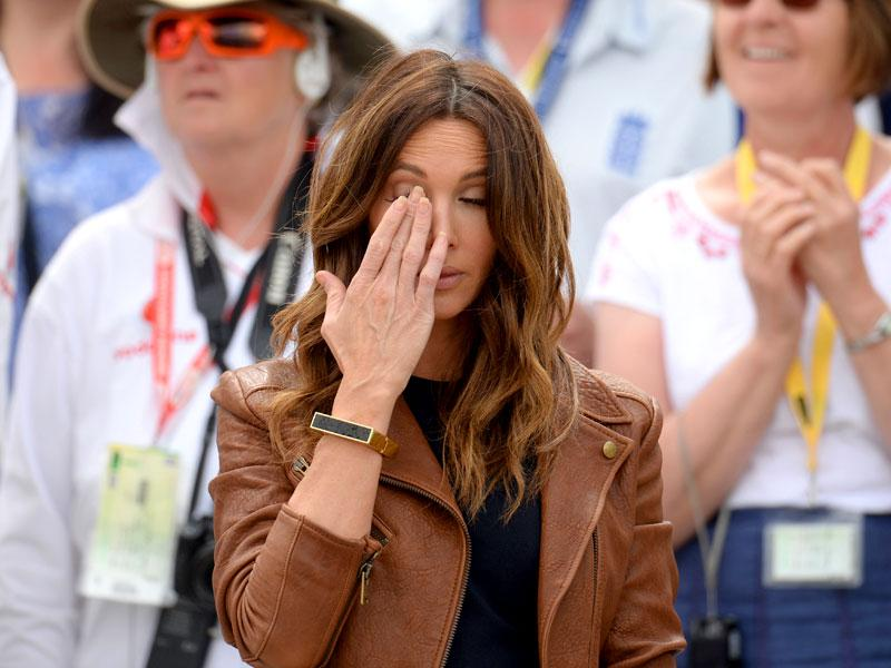 Kyly Clarke, wife of Australia's Michael Clarke, cries during his retirement speech at the end of the Test. Clarke said he was quitting the Australian test captaincy after his side suffered a humiliating loss in the Ashes series against England. (Reuters)
