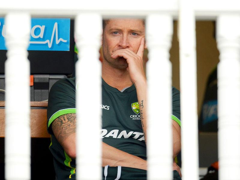 Australian skipper Michael Clarke looks dejected after England beat Australia by an innings and 78 runs at Tent Bridge to regain the Ashes series. (Reuters)