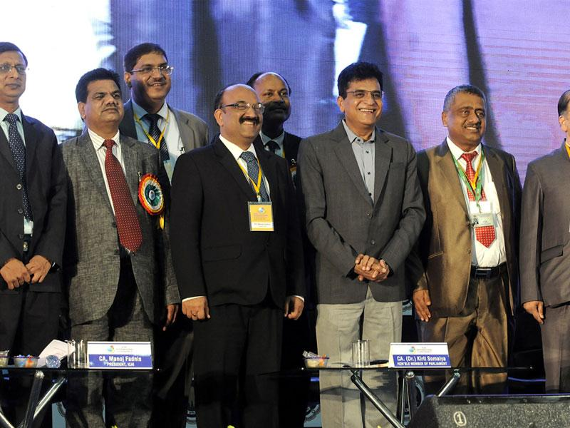 ICAI members gather on the last day of an international conference on accountancy, in Indore on Sunday. (Shankar Mourya/HT)