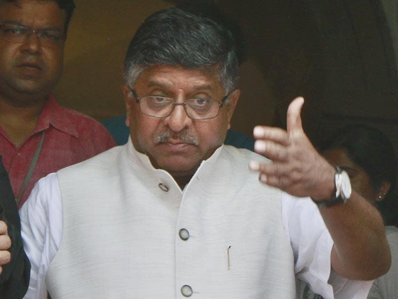 Ravi Shankar Prasad is serving as the Union minister in the Modi government. Prasad has been a practicing lawyer in the Patna high court since 1980. (HT Photo/Sanjeev Verma)