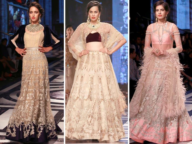 Falguni and Shane Peacock's creation featured outfits in opulent fabrics like chattily lace, imported organza, tulle and pure satin.