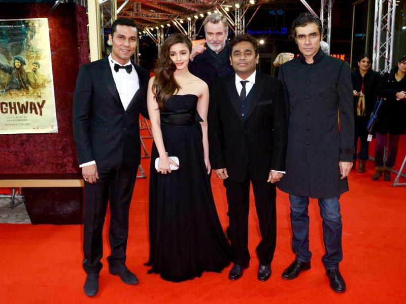 Randeep Hooda, Alia Bhatt, AR Rahman, Imtiaz Ali and Wieland Speck (Head of Panorama section) on the red carpet of the World Premiere of Highway at the 64th Berlin Film Festival. Browse through.