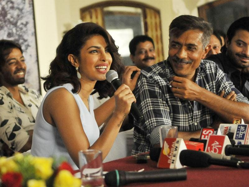 Film actor Priyanka Chopra and cast crew of Prakash Jha Productions' Gangaajal-2 interact with media, in Bhopal on Thursday. (Praveen Bajpai/HT photo)
