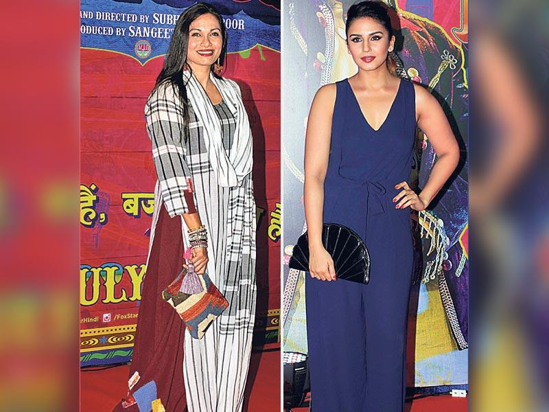 Television anchor Maria Goretti's (L) tasseled clutch sets off her boho outfit. Actor Huma Qureshi (R) is all about the oriental vibe with a fan-shaped clutch.