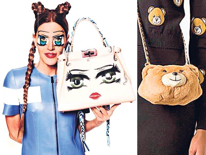 Magazine editor Anna Dello Russo (L) gets creative with a Peekaboo bag. A bear-shaped bag by fashion house Moschino (R) is a definite eye-catcher.