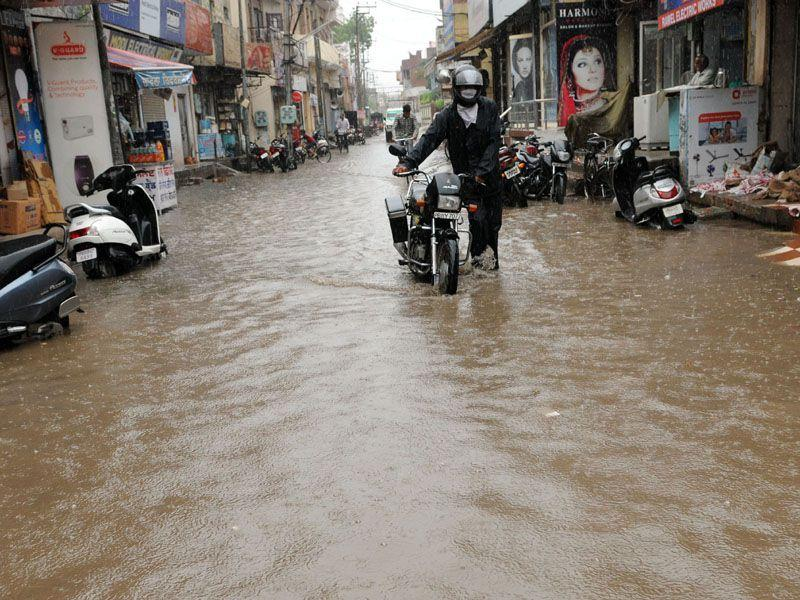 Water-logged market of Patiala during the rain on Saturday. Bharat Bhushan/HT