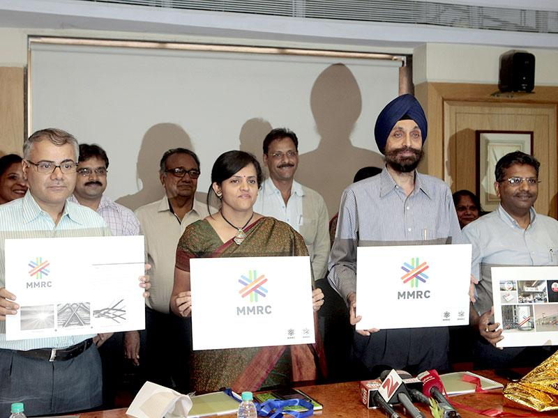MMRC officials unveiled the new logo of Mumbai Metro at MMRDA office at Bandra, Mumbai. (Pratham Gokhale/HT photo)