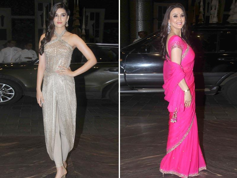 Kriti Sanon also attended the reception. Preity Zinta donned a bubble-gum pink sari.