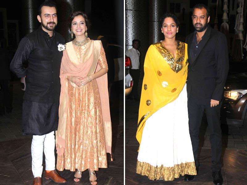 Dia Mirza was seen with husband Sahil Sangha. Designer Masaba Gupta also attended with husband Madhu Mantena.