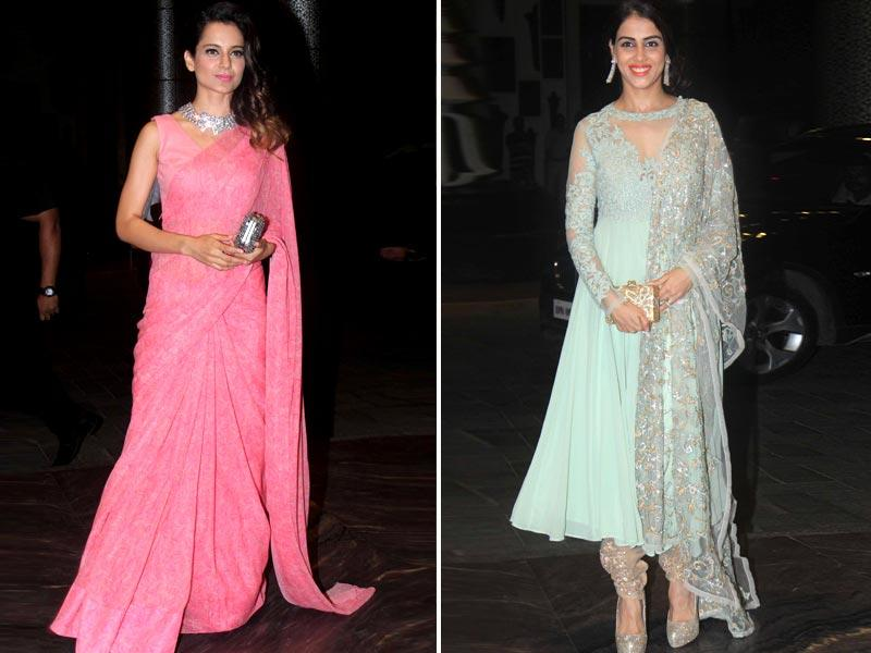 While Kangana Ranaut looked elegant in a peach-coloured sari, Genelia D'Souza also looked beautiful in her salwar ensemble.