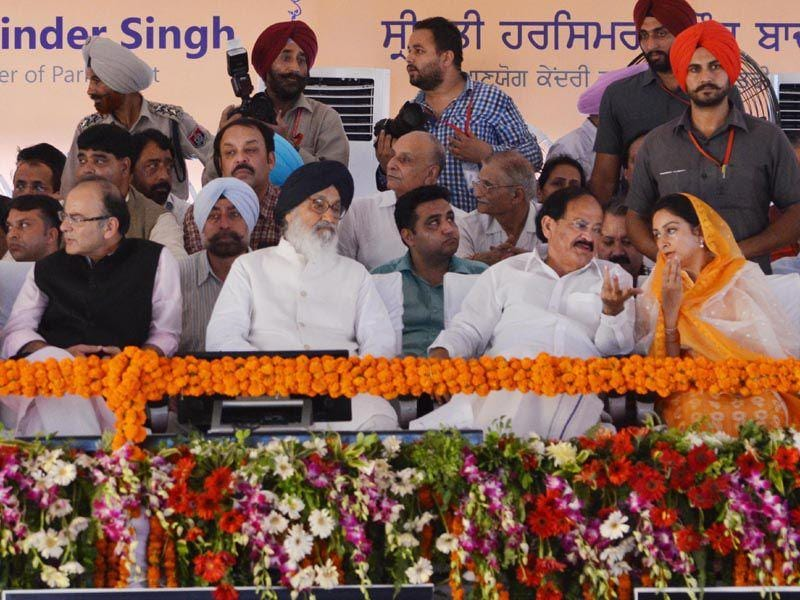 Union minister Harsimrat Kaur Badal, chief minister Parkash Singh Badal were also present on the occasion. Sameer Sehgal/HT