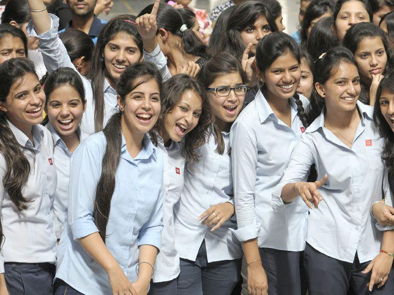 Girls rejoice at thier first day at college in Chandigarh