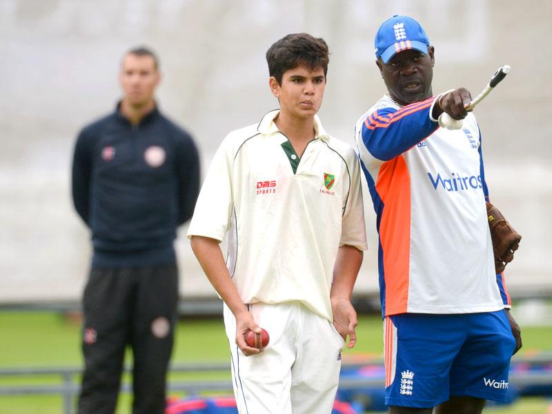 Arjun with England bowling coach Ottis Gibson. (Reuters Photo)