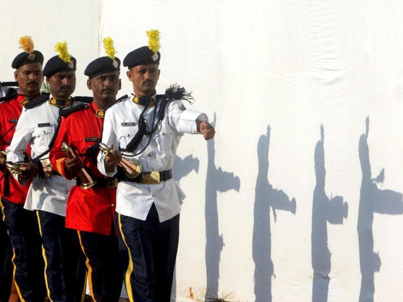 Jawans from the police band during the Martyr's Day parade at Naigaon police ground in 2008. This photo won the Asia Media Award for the 'Best In Photojournalism Award (Feature Photography)', in 2009. (Kunal Patil/HT photo)