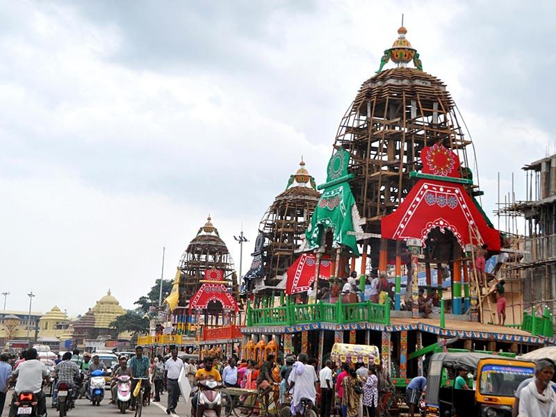An Overview of the Grand road ahead of the Nabakalebar Ratha Yatra during preparations, in Puri, Odisha, on Thursday, July 16, 2015 (Arabinda Mahapatra/ HT Photo)