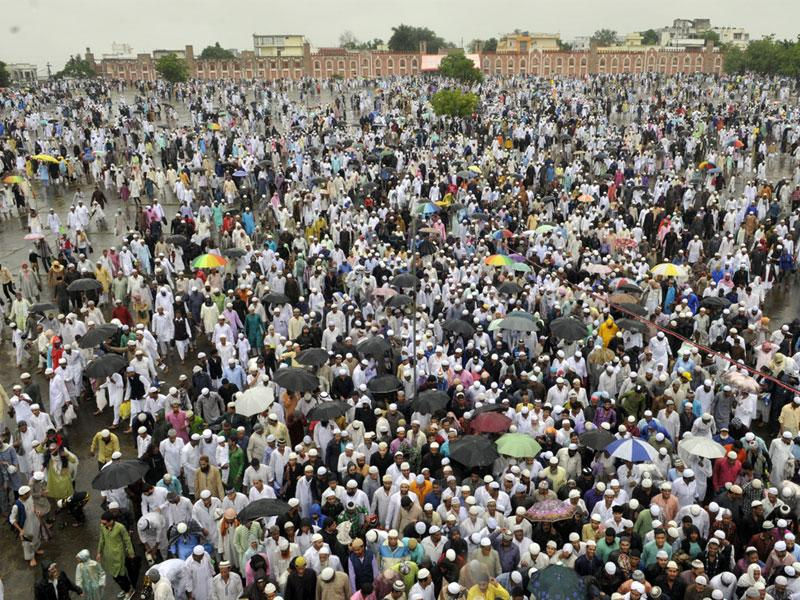 Devouts come out of Eidgaah after offering Eid Namaz at Eidgaah in Bhopal on Saturday. (Praveen Bajpai/HT photo)