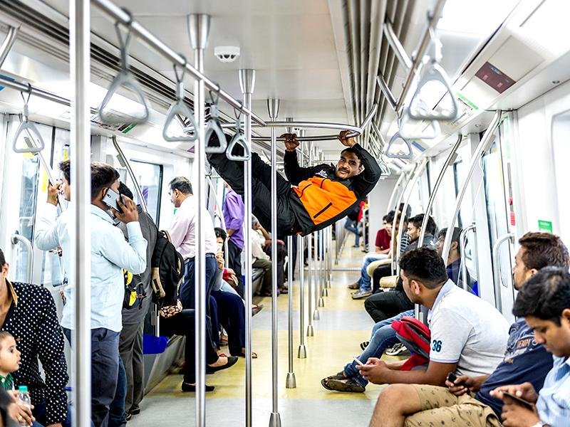 Jeeva Kumar performs a stunt inside the Mumbai Metro for the u_mumba Instagram campaign. (Photo: Ali Bharmal)