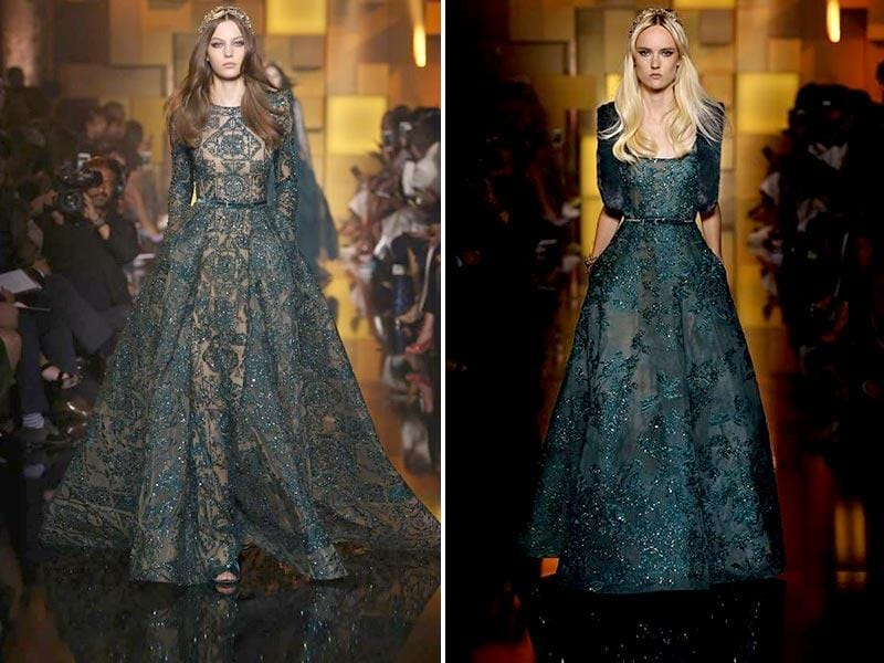 If your are opting for a dark colour, go for unicloured flowy gowns with sequined aztec or floral patterns for that evening party look. (All photos: Facebook/ Elie Saab)