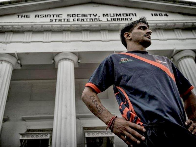U Mumba player and defender Surender Nada is photographed outside Asiatic Library. (Photo: Ali Bharmal)