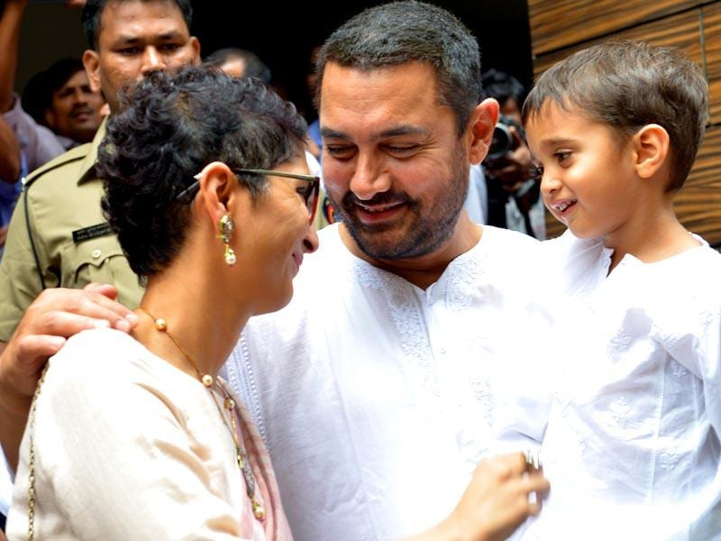 Aamir Khan with his wife Kiran Rao and their four-year-old son Azad. (AFP Photos)